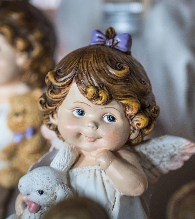 Angel holding teddy, modern style 4 options Height 8cm.