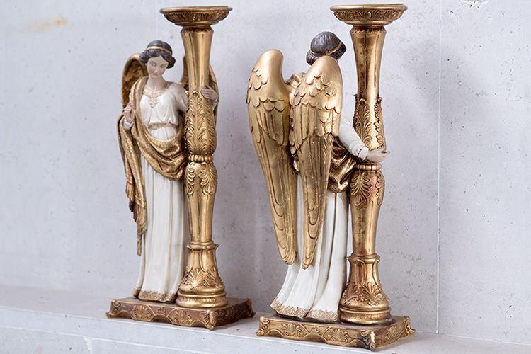 Portavelas con ángel